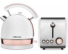"Mellerware Pack 2 Piece Set Stainless Steel White Kettle And Toaster ""Rose Gold"""