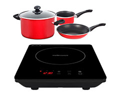 "Mellerware Pack 5 Piece Black Induction Cooker And Pot Set 1800W ""Capri"""