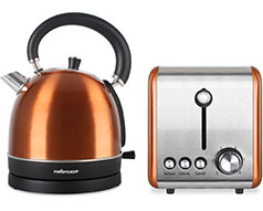 "Mellerware Pack 2 Piece Set Stainless Steel Kettle And Toaster ""Copper"""