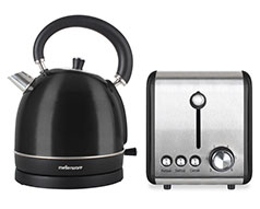 "Mellerware Pack 2 Piece Set Stainless Steel Black Kettle And Toaster ""Eclipse"""