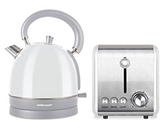 "Mellerware Pack 2 Piece Set Stainless Steel White Kettle And Toaster ""Chiffon"""